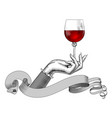 womens hand holding a wine glass and ribbon vector image
