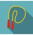 Yellow skipping rope icon flat style vector image