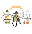 hunting icon set flat style vector image