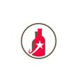 bottle wine star logo vector image