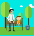 family day with father and son cartoon characters vector image