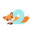 funny cute fox animal and number two birthday vector image