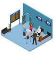 airport check in interior isometric view vector image vector image
