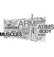 arm exercise text word cloud concept vector image vector image