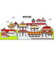 bhutan line skyline bhutan vector image