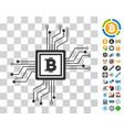 bitcoin pool circuit icon with bonus vector image vector image