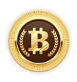 bitcoin symbol on gold medal - cryptocurrency icon vector image vector image