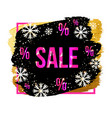 black friday sale banner with snowflakes vector image vector image