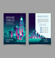 brochure with neon megapolis buildings vector image