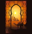 camel riders in desert near dubai city vector image vector image