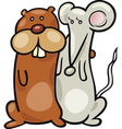 cartoon illustration of hamster and mouse in a hug vector image vector image