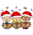 Children singing christmas songs with santa hat