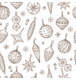 christmas balls seamless pattern xmas tree vector image