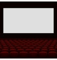 Cinema theatre with screen and seats vector image vector image