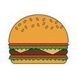 color image cartoon big bread hamburger fast food vector image vector image