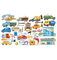 colored cars and auto service set vector image vector image