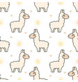 cute llama seamless pattern background vector image vector image