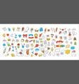 different doodle icons set vector image