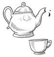 doodle tea teapot cup drink vector image vector image