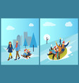 family tubing and children sitting on sledges vector image vector image