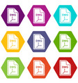 file dwg icon set color hexahedron vector image vector image