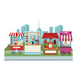food booth and shops vector image