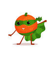 funny cartoon character of superhero orange with vector image vector image