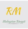 Golden Ringgit Symbol vector image vector image