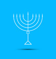 hanukkah menorah on light blue background a vector image vector image