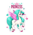 little cute cartoon unicorn princess cartoon vector image