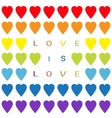 Love is love text Rainbow heart set Seamless vector image vector image