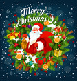 merry christmas card with santa claus holding sack vector image vector image