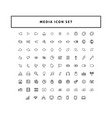 modern media collection icon set with outline vector image