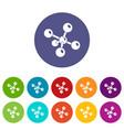 molecule chemistry icons set color vector image vector image