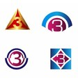Number logo design Logo 3 template vector image vector image