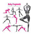 pack of body parts body workout set woman doing vector image vector image