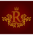 Patterned golden letter R monogram in vintage vector image
