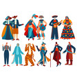 people in costumes isolated cartoon characters vector image vector image