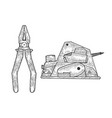 pliers and electric planer tools sketch vector image vector image