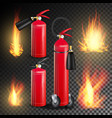 red fire extinguisher fire flame sign vector image vector image