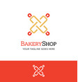 rolling pin logo or icon for bakery shop culinary vector image vector image
