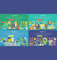science laboratory flat color templates set vector image