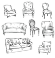 set hand drawn chairs and sofas vector image