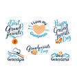 set happy grandparents day emblems labels icons vector image vector image
