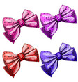 set of multicolored bow ties isolated on white vector image