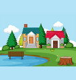 simple rural house scene vector image vector image