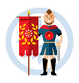 spartan warrior with the red flag flat vector image vector image