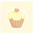 Sweet muffin lemon yellow cupcake with pink heart vector image vector image