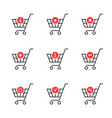 thin line set of shopping cart icon on white vector image vector image