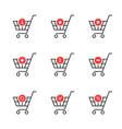 Thin line set of shopping cart icon on white